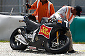 February 5, 2010 - Kuala Lampur, Malaysia - Italian rider Marco Simoncelli motorbike(San Carlo Honda Gresini) after he crashed during testing on Sepang International Circuit on February 5, 2010. (Photo Andrew Northcott/Nippon News)
