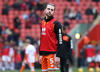 Blackpool's Anthony Evans during the pre-match warm-up <br /> <br /> Photographer David Shipman/CameraSport<br /> <br /> The EFL Sky Bet League One - Charlton Athletic v Blackpool - Saturday 16th February 2019 - The Valley - London<br /> <br /> World Copyright © 2019 CameraSport. All rights reserved. 43 Linden Ave. Countesthorpe. Leicester. England. LE8 5PG - Tel: +44 (0) 116 277 4147 - admin@camerasport.com - www.camerasport.com