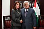 Palestinian President Mahmoud Abbas meets with Ecuadorian Foreign Affairs Minister Maria Fernanda Espinoza at his headquarters in the West Bank city of Ramallah on November 26, 2017. Photo by Osama Falah