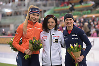 SPEEDSKATING: HAMAR: Vikingskipet, 29-02-2020, ISU World Speed Skating Championships, Sprint, Podium 1000m Ladies, Jutta Leerdam (NED), Miho Takagi (JPN), Brittany Bowe (USA), ©photo Martin de Jong