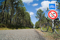 Bicycle parked against a road sign on a bicycle track passing through the Landes forest, France.