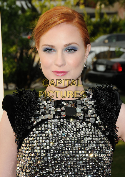 EVAN RACHEL WOOD.The Hollywood Life 11th Annual Young Hollywood Awards held at The Eli & Edythe Broad Stage in Santa Monica, California, USA. .June 7th, 2009.headshot portrait grey gray black silver beads beaded jewel encrusted embellished sleeveless dress blue eyeshadow .CAP/DVS.©Debbie VanStory/Capital Pictures.