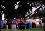 Tiger Woods contemplates a putt at the Genuity Open at Doral in Miami, Fl.