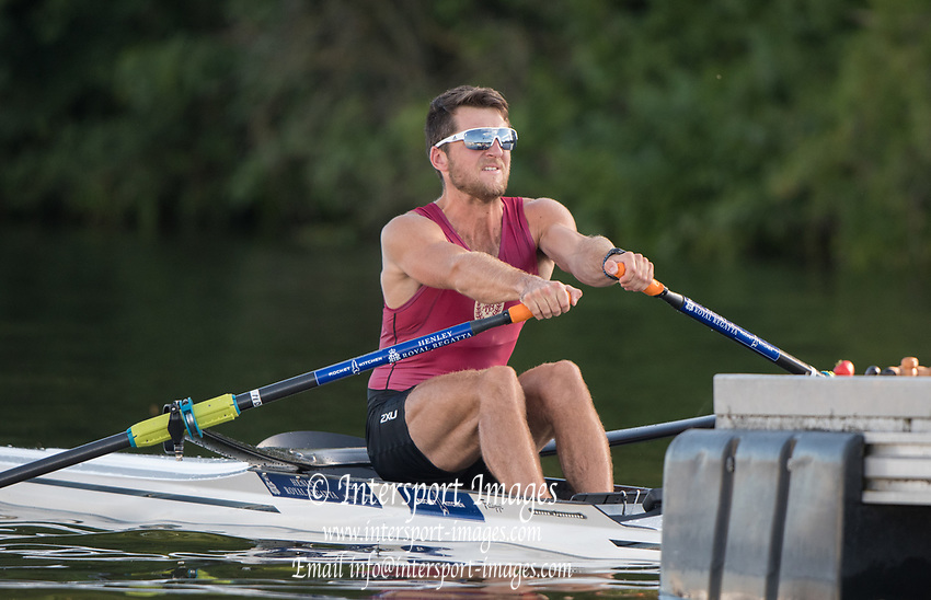 Henley-on-Thames. United Kingdom.  <br /> Diamond Challenge Sculls. NZL M1X. Matt DUNHAM, Waiariki RC.  2017 Henley Royal Regatta, Henley Reach, River Thames. <br /> <br /> 18:41:01  Saturday  01/07/2017   <br /> <br /> [Mandatory Credit. Peter SPURRIER/Intersport Images.
