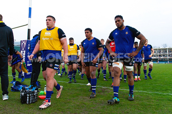 Bath United players leave the field at the end of the pre-match warm-up. Premiership Rugby Shield match, between Bath United and Gloucester United on April 8, 2019 at the Recreation Ground in Bath, England. Photo by: Patrick Khachfe / Onside Images