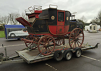 BNPS.co.uk (01202 558833)<br /> Pic: MarkBroadbent/BNPS<br /> <br /> The run down carriage in inaccurate colour scheme before the restoration began.<br /> <br /> Last Post - Britain's last Royal Mail carriage, that bizarrely once survived an attack by a lion outside Salisbury, has been saved for the nation.<br /> <br /> The 200-year-old horse-drawn carriage harks back to the golden age of the Royal Mail when crowds gathered along the route to see the lightning-quick service thunder by.<br /> <br /> The restored four horse coach was known as 'Quicksilver' as it was the fastest in the land on its regular 21 hour run from Devonport, Devon, to London.<br /> <br /> But the red and black wooden wagon went down in history for an extraordinary incident involving a lion in the English countryside in 1816.