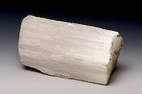 Satin spar is the fibrous habit, or form, of gypsum. Ottawa County, Ohio, USA.