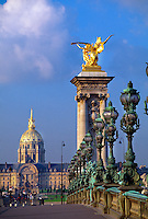 Pont Alexandre III with the Hotel des Invalides in the background, Paris, France