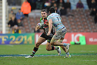 Nick Easter of Harlequins confronts Antoine Battut of Racing Metro 92 during the Heineken Cup match between Harlequins and Racing Metro 92 at the Twickenham Stoop on Sunday 15th December 2013 (Photo by Rob Munro)