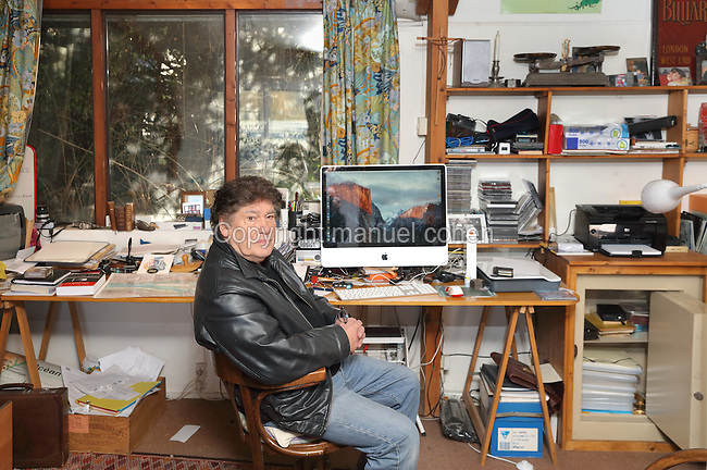 Pierre Pean, born 1938 in Sable-sur-Sarthe, French investigative journalist and author, photographed in his office by Manuel Cohen in 2017. Pierre Pean's works on political controversies include L'Homme de l'ombre (1990), Une jeunesse francaise: Francois Mitterrand (1994), Manipulations Africaines (2001), La Face cachee du Monde (2003), Noires fureurs, blancs menteurs (2005) and The World According to K (2008).