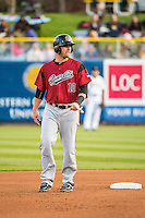 Andrew Susac (10) of the Sacramento River Cats during the game against the Salt Lake Bees in Pacific Coast League action at Smith's Ballpark on April 17, 2015 in Salt Lake City, Utah.  (Stephen Smith/Four Seam Images)