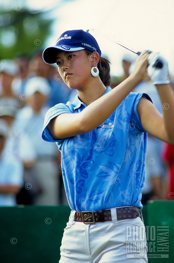Golf prodigy and Honolulu teenager MIchelle Wie playing in the Sony Open at Waialae Country Club, Kahala, island of Oahu