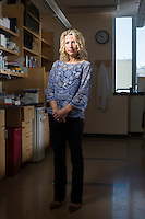 Beth Stevens is a scientist at Boston Children's Hospital in Boston, Massachusetts, USA. She is seen here in her lab on Tues., April 5, 2016.