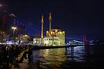Ortaköy Mosque With Bridge Over Bosphorus