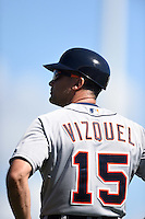 Detroit Tigers first base coach Omar Vizquel (15) during a Spring Training game against the Baltimore Orioles on March 4, 2015 at Ed Smith Stadium in Sarasota, Florida.  Detroit defeated Baltimore 5-4.  (Mike Janes/Four Seam Images)