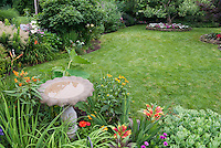 Birdbath in lovely flower and shrub garden with picket fence, lawn grass, lilies, daylilies, black eyed susans, raised beds with specimen tree, amaranthus bright foliage, sedum, goatsbeard, shrubs mixture.
