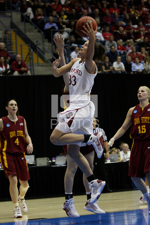 BERKELEY, CA - MARCH 30: Jillian Harmon drives and lays the ball up during Stanford's 74-53 win against the Iowa State Cyclones on March 30, 2009 at Haas Pavilion in Berkeley, California.