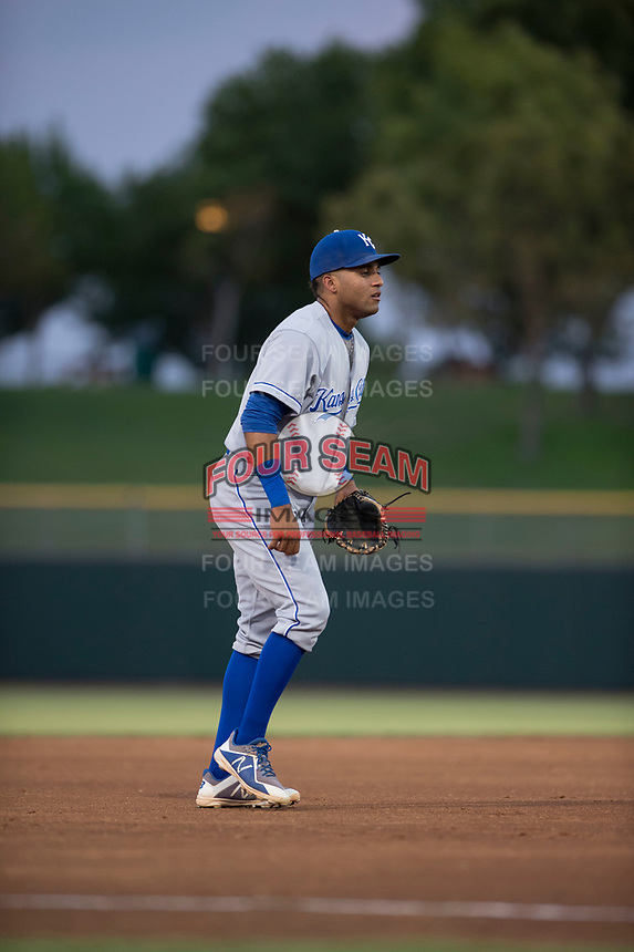 AZL Royals third baseman Rubendy Jaquez (3) during an Arizona League game against the AZL Giants Black at Scottsdale Stadium on August 7, 2018 in Scottsdale, Arizona. The AZL Giants Black defeated the AZL Royals by a score of 2-1. (Zachary Lucy/Four Seam Images)
