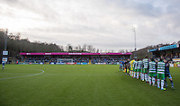 Joe Jacobson of Wycombe Wanderers leads the handshakes before the Sky Bet League 2 match between Wycombe Wanderers and Yeovil Town at Adams Park, High Wycombe, England on 14 January 2017. Photo by Andy Rowland / PRiME Media Images.