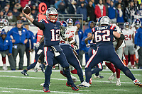 FOXBORO, MA - OCTOBER 10: New England Patriots Quarterback Tom Brady (12) passes the ball during a game between New York Giants and New England Patriots at Gillettes on October 10, 2019 in Foxboro, Massachusetts.