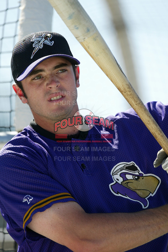 Jarred Ball of the Lancaster JetHawks before a 2004 season California League game against the Lancaster JetHawks at The Hanger in Lancaster, California. (Larry Goren/Four Seam Images)