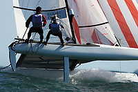 RIO DE JANEIRO, BRAZIL - AUGUST 13:  Bora Gulari of the United States and Louisa Chafee of the United States compete in the Nacra 17 Mixed class on Day 8 of the Rio 2016 Olympic Games at the Marina da Gloria on August 13, 2016 in Rio de Janeiro, Brazil.  (Photo by Clive Mason/Getty Images)