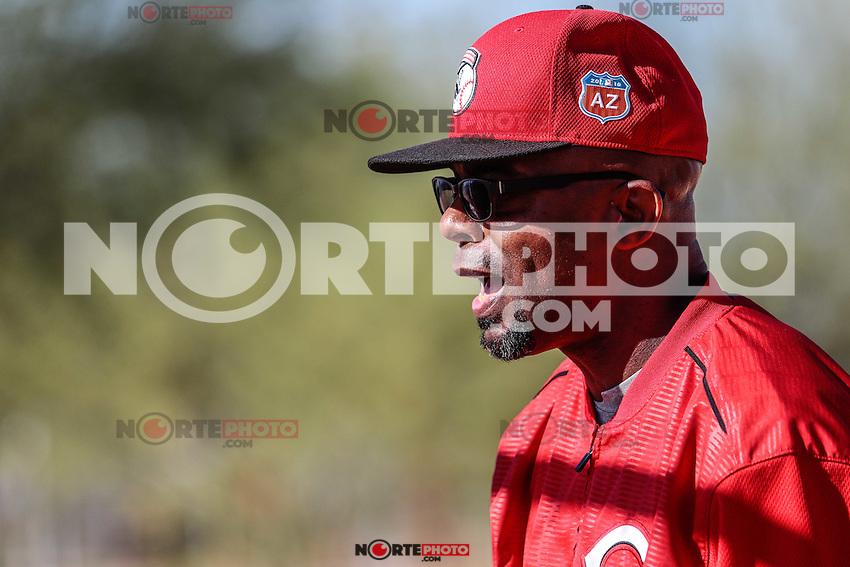 Delino Deshields, Coach, durante entrenamiento de los Rojos de Ccincinnati, en el Cincinnati Reds Player Development Complex de Goodyear, AZ.