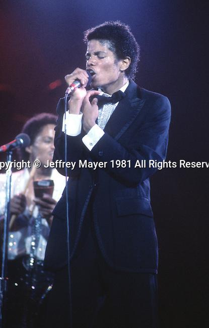 Los Angeles, CA. - Sept 16: Michael Jackson in concert circa 1981 at various venues in Los Angeles, California.