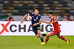 Doan Ritsu of Japan (L) competes for the ball with Ali Al Busaidi of Oman during the AFC Asian Cup UAE 2019 Group F match between Oman (OMA) and Japan (JPN) at Zayed Sports City Stadium on 13 January 2019 in Abu Dhabi, United Arab Emirates. Photo by Marcio Rodrigo Machado / Power Sport Images