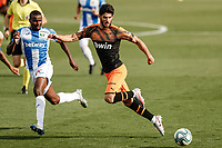 12th July 2020; Estadio Municipal de Butarque, Madrid, Spain; La Liga Football, Club Deportivo Leganes versus Valencia; Goncalo Guedes (Valencia CF) receives the pass and holds off the challenge