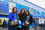 28th September 2017, Goodison Park, Liverpool, England; UEFA Europa League group stage, Everton versus Apollon Limassol; Three Apollon fans outside Goodison Park before the game