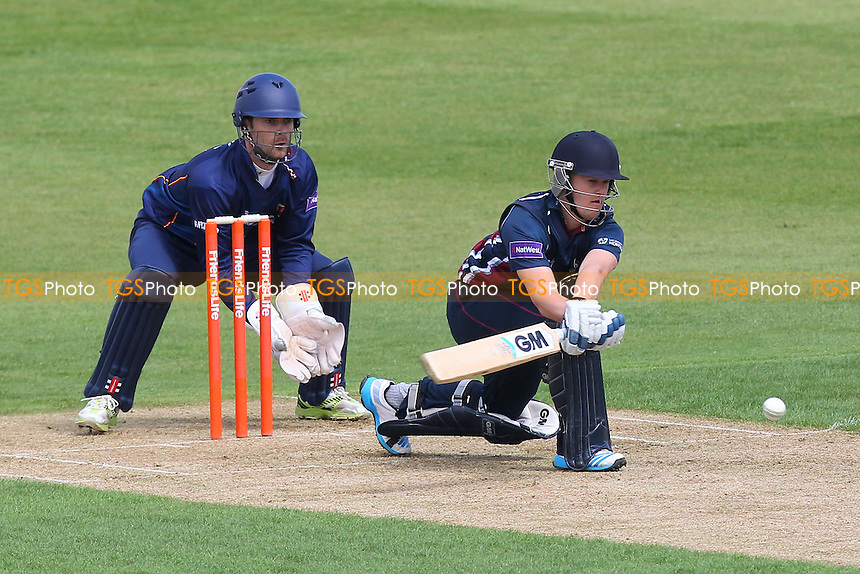Ben Duckett in batting action for Northants as James Foster looks on - Northamptonshire CCC 2nd XI vs Essex CCC 2nd XI - 2nd XI T20 Cricket at the County Ground, Northampton - 09/05/14 - MANDATORY CREDIT: Gavin Ellis/TGSPHOTO - Self billing applies where appropriate - 0845 094 6026 - contact@tgsphoto.co.uk - NO UNPAID USE