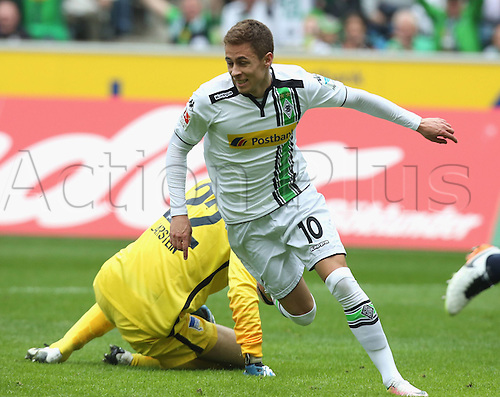 03.04.2016. Monchengladbach, Germany.  Bundesliga Football. Borussia Monchengladbach versus Hertha Berlin. Goal celebration Thorgan Hazard Moenchengladbach