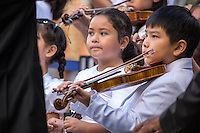 NEW YORK CITY, UNITED STATES SEPTEMBER 16, 2016:Young musicians play during the Peace Bell Ceremony to commemorate the International Day of Peace  at the United Nations in New York. Photo by VIEWpress/Maite H. Mateo