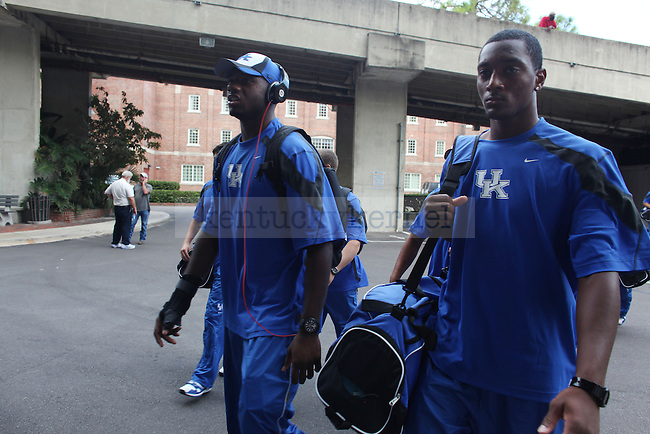 "The UK football team walks into the visitor locker room before the UK vs Florida football game at the ""Swamp"" on Saturday, Sept. 25, 2010 Photo by Britney McIntosh 