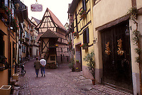AJ1649, Alsace, France, Eigisheim, Europe, Half-timbered houses line the narrow cobbled streets of Eigisheim, a wine growing village of Alsace, France.