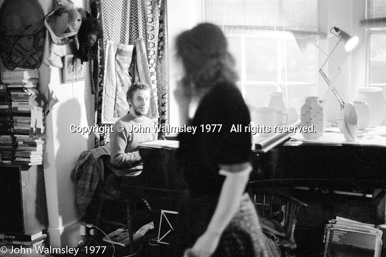 Liz Fritsch, potter, and jazz pianist, Veryan Weston, both lived and worked at Digswell House, an artists' community run by the Digswell Arts Trust, Welwyn Garden City, Hertfordshire, UK.  1977. Other artists there at the time included: Lol Coxhill, jazz saxophonist, John Blakeley, sculptor, Patricia Leighton, sculptor and John Walmsley, photographer.
