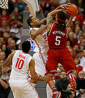 Ohio State Buckeyes center Amir Williams (23) blocks a shot by Nebraska Cornhuskers forward Terran Petteway (5) in the first half at Value City Arena in Columbus Jan. 4, 2013 (Dispatch photo by Eric Albrecht)