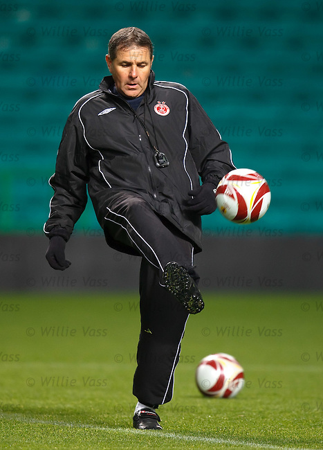 Hapoel manager Ely Gutman at Celtic Park during training