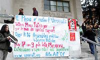 Un manifesto all'esterno della Facolta' di Lettere e Filosofia dell'Universita' La Sapienza di Roma, 15 gennaio 2008, contro la visita di Papa Benedetto XVI il prossimo giovedi' 17, in occasione dell'inaugurazione dell'anno accademico..An anti-Pope banner outside of the Faculty of Arts at Rome's La Sapienza University, 15 january 2007. Pope Benedict XVI will take part in the inauguration of the academic year on next 17 january..UPDATE IMAGES PRESS/Riccardo De Luca