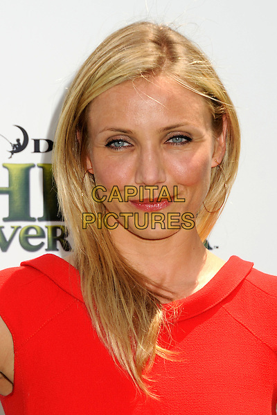 "CAMERON DIAZ.Attending the ""Shrek Forever After"" Los Angeles Film Premiere held at the Gibson Amphitheatre, Universal City, California, USA, 16th May 2010..arrivals portrait headshot make-up  lipstick red  gold hoop earrings .CAP/ADM/BP.©Byron Purvis/AdMedia/Capital Pictures."