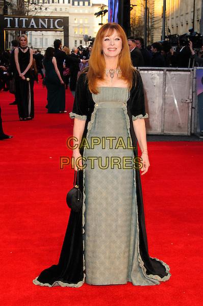 Frances Fisher.'Titanic 3D' world premiere, Royal Albert Hall, London, England..27th March 2012.full length black green dress long coat jacket .CAP/CJ.©Chris Joseph/Capital Pictures.
