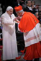 Cardinal Mario Aurelio Poli of Argentina   is congratulated by Pope emeritus Benedict XVI  after he was appointed cardinal by the Pope at the consistory in the St. Peter's Basilica at the Vatican on February 22, 2014.