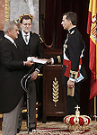 Coronation ceremony in Madrid. King Felipe VI of Spain, Jesus Posada (i) congress president and Mariano Rajoy (2i) Spanish President and  at Congreso de los Diputados. June 19 ,2014. (ALTERPHOTOS/EFE/Pool)