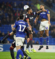 31st January 2020; Cardiff City Stadium, Cardiff, Glamorgan, Wales; English Championship Football, Cardiff City versus Reading; Curtis Nelson of Cardiff City heads the ball towards goal