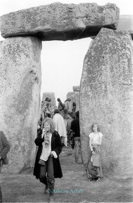 Revellers at Stonehenge on summer solstice 1981.