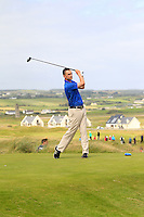 Ian O'Rourke (The Royal Dublin) on the 2nd tee during the Quarter Finals of The South of Ireland in Lahinch Golf Club on Tuesday 29th July 2014.<br /> Picture:  Thos Caffrey / www.golffile.ie