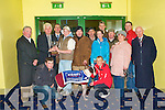 PRESENTATION: John O'Callaghan (General Manager Kerry Agri Business) presenting Eric O'Connor owner of Saleen Pier winner of the Kerry Group County Championship 550 Final with the winners trophy at the Kingdom Greyhound Stadium on Friday front l-r: Kieran Culhane and Jodie O'Connor. Back l-r: David Buckley (Chairman Kerry Group), John O'Callaghan (General Manager Kerry Agri Business), Declan Dowling (Sales and Operations Manager KGS), Eric O'Connor, Pat, Tom and Sinead O'Connor, Adrian Neilan (CEO IGB), Patrick Fennell, Christine O'Connor, Kieran Casey (KGS) and Tony McKenna (IGB).