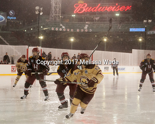 Haley Mullins (Harvard - 26), Natasha Rachlin (Harvard - 7), Haley McLean (BC - 13) - The Boston College Eagles defeated the Harvard University Crimson 3-1 on Tuesday, January 10, 2017, at Fenway Park in Boston, Massachusetts.The Boston College Eagles defeated the Harvard University Crimson 3-1 on Tuesday, January 10, 2017, at Fenway Park.
