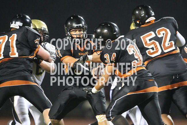 Beverly Hills, CA 09/23/11 - Brandon Adams (Beverly Hills #11) and Alan Castro (Beverly Hills #34) in action during the Peninsula-Beverly Hills Varsity football game.